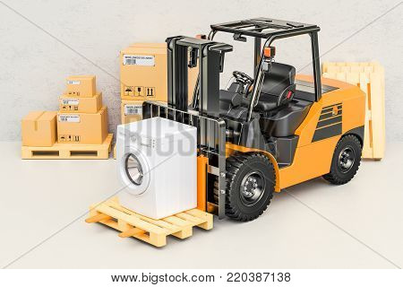 Hand truck with washing machine. Appliance delivery, 3D rendering
