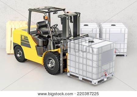 Forklift truck with white intermediate bulk container, 3D rendering