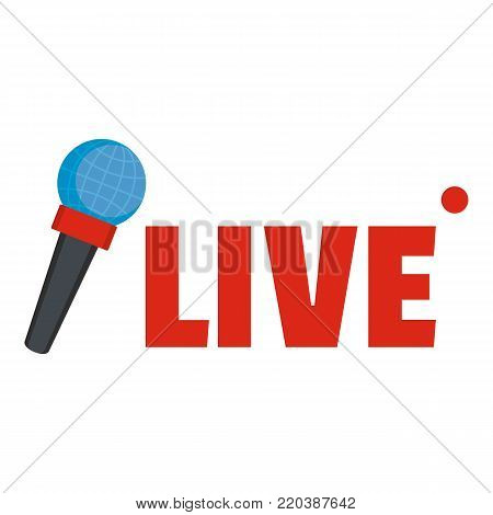 Live microphone icon. Flat illustration of live microphone vector icon for web.
