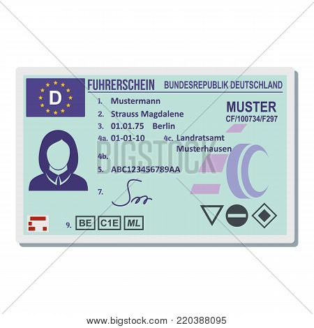 Driving license for berlin icon. Flat illustration of driving license for berlin vector icon for web.