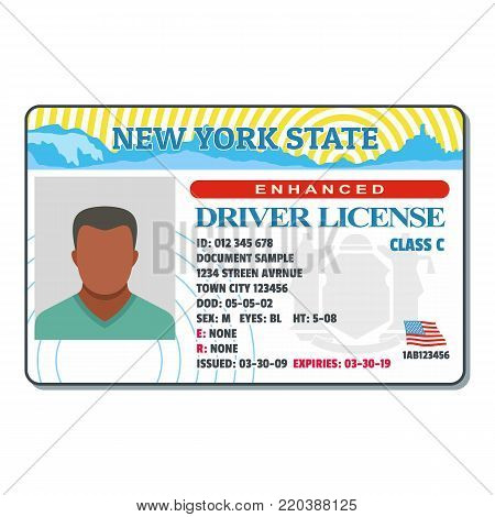 Driving license for new york icon. Flat illustration of driving license for new york vector icon for web.