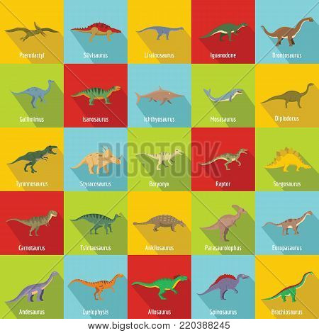 Dinosaur types signed name icons set. Flat illustration of 25 dinosaur types signed name vector icons for web