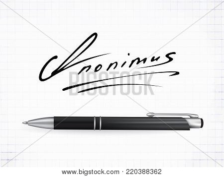 Signature Anonimus  Icon. Fictitious signature and realistic ball pen on a traced paper background