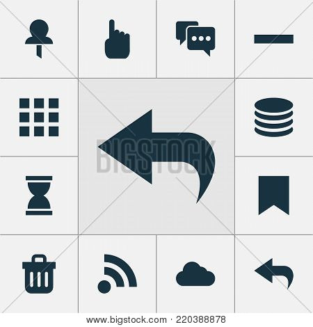 User icons set with application, db, cursor and other mark  elements. Isolated vector illustration user icons.