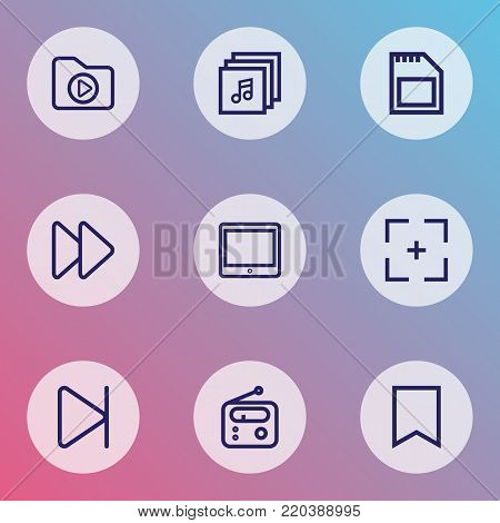 Music icons line style set with flag, memory, finish and other palmtop elements. Isolated vector illustration music icons.