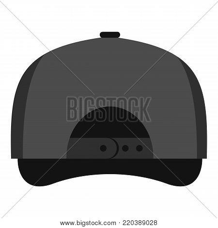 Gray baseball cap back icon. Flat illustration of gray baseball cap back vector icon for web.
