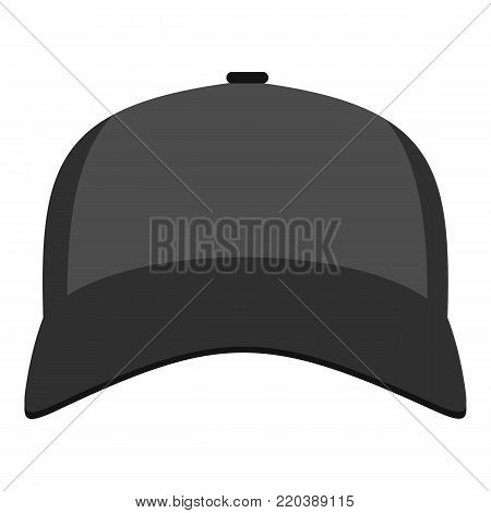 Baseball hat in front icon. Flat illustration of baseball hat in front vector icon for web.