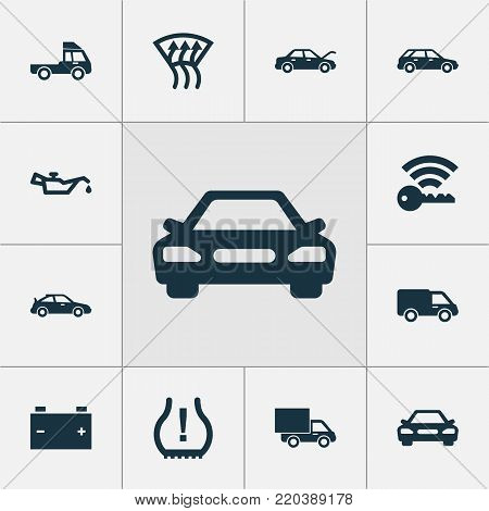 Automobile icons set with truck, accumulator, van and other hatchback elements. Isolated vector illustration automobile icons.