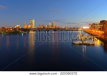 Boston Back Bay Skyline John Hancock Tower and Prudential Center night scenes, viewed from Cambridge, Boston, Massachusetts, USA