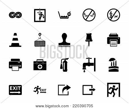 Work icon set. Can be used for topics like occupation, job, enterprise, manufacturing, industry