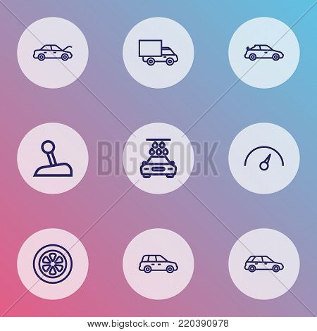Automobile icons line style set with lorry, chronometer, washing and other wheel  elements. Isolated  illustration automobile icons.
