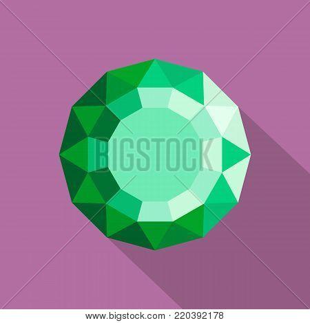 Emerald diamond icon. Flat illustration of emerald diamond vector icon for web.