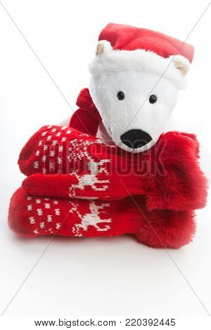 studio quality white background red wool mittens baby winter clothes bear Santa  Claus Christmas gift texture background baby, winter, clothes, mittens, christmas, gloves, wool, child, background, pink, white, isolated, clothing, flat, lay, red, view, woo poster