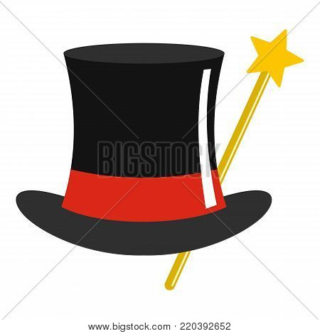 Hat with wand icon. Cartoon illustration of hat with wand vector icon for web.