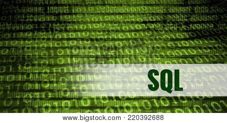 Sql Coding Language with Green Binary Background