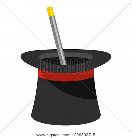 Wand in hat icon. Cartoon illustration of wand in hat vector icon for web.