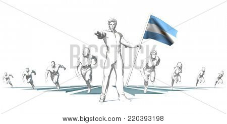 Argentina Racing to the Future with Man Holding Flag 3d Render