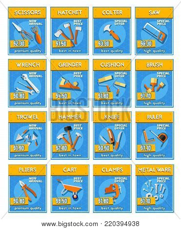 Repair equipment and tools and instrument price labels. Hammer, screwdriver and pliers, wrench, saw and spanner, knife, paint brush and roller, tape measure, trowel, axe and screw