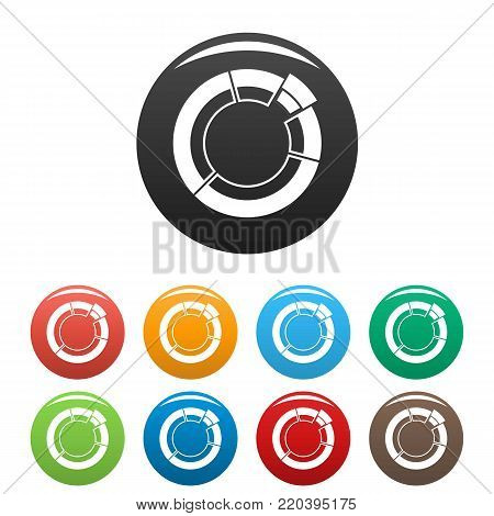 Circle chart icons set in simple style many color circle isolated on white background