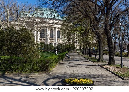SOFIA, BULGARIA - APRIL 1, 2017: Amazing view of University of Sofia St. Kliment Ohridski, Bulgaria