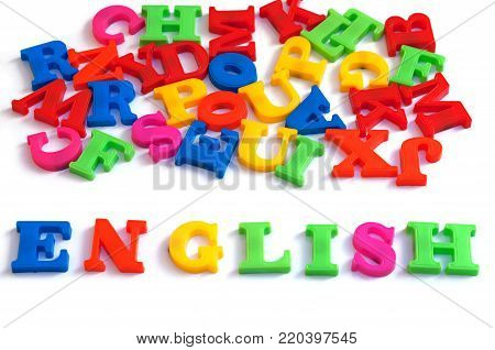 Colorful english word on white background , English language learning concept.