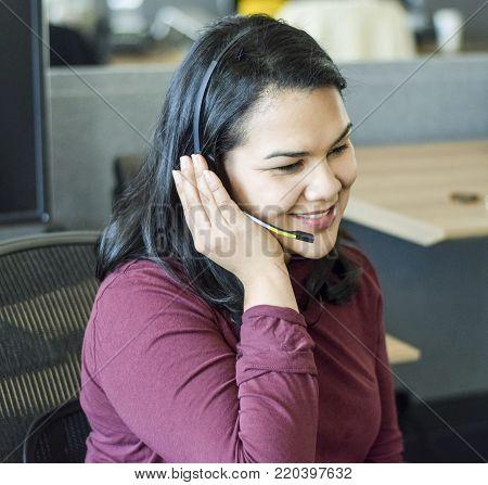 Latina Woman Working At Call Center