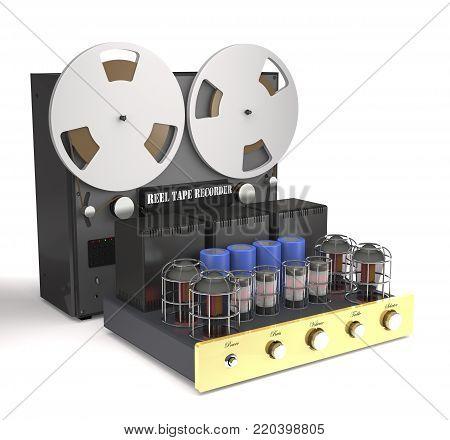 Vintage tube amplifier and reel tape recorder on white background (3d illustration).