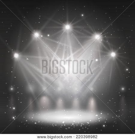 Spotlight on stage for your design. Grayscale light. Vector illustration.