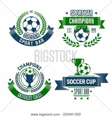 Soccer ball with trophy icons for football sport bar. Soccer ball and winner cup isolated symbol for sport pub design, framed with champion laurel wreath, ribbon banner, star and flame