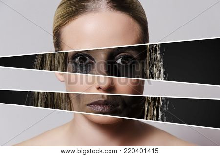 concept representing problems and abuse hiding beneath a beautiful exterior of a young woman