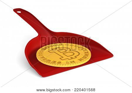 coin bitcoin and dustpan on white background. Isolated 3D illustration