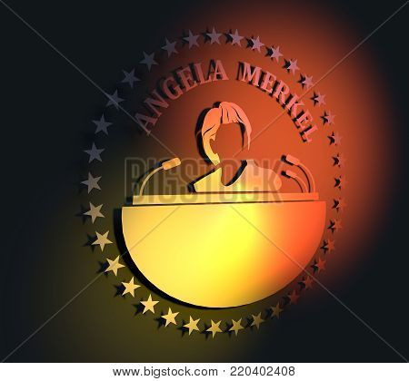 Germany - Circa, 2017: An illustration of a portrait of german chancellor Angela Merkel portrait. Frame from stars. 3D rendering