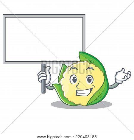 Bring board cauliflower character cartoon style vector illustration