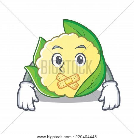 Silent cauliflower character cartoon style vector illustration
