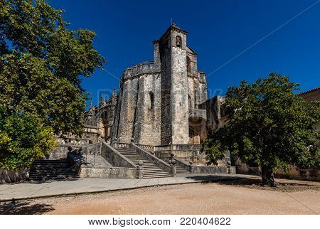 Tomar, Portugal, August 12, 2017: The  Round Church (rotunda) in Tomar, Portugal, built by the Knights Templar in the 12th century, modeled after the Dome of the Rock in Jerusalem,