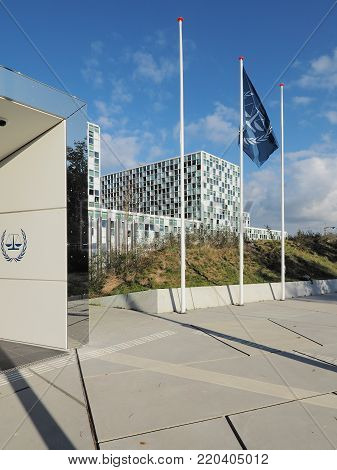 The Hague, Netherlands - November 3, 2017: The flag and the International Criminal Court at the new 2015 opened ICC building.