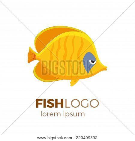 Marine life tropical colorful fish set illustration in cartoon. Aquarium draft vector design.  addis butterfish logo