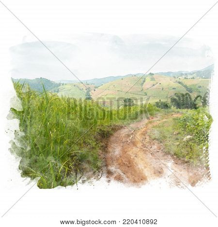 Dirt road in a rural area beside rice field with mountain on background. Watercolor painting (retouch).