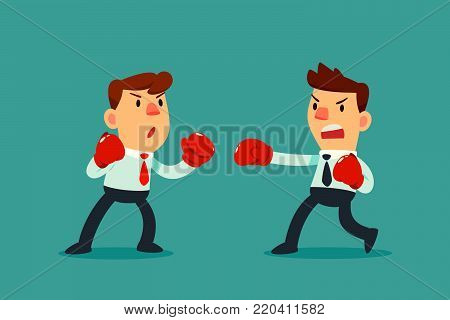 Businessman in boxing gloves fighting against another businessman. Business competition concept.