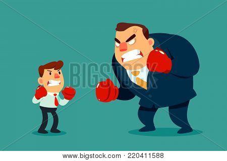 Businessman in boxing gloves fighting against bigger businessman. Business competition concept.