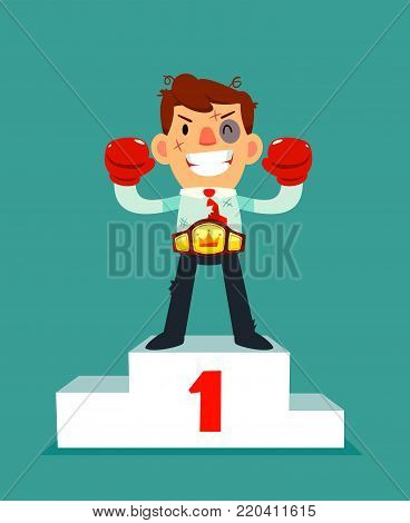 Businessman in boxing gloves won the fight and wearing championship belt on number one podium. no pain no gain business concept.