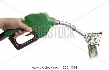 Male hand holding green gas pump with dollar bills isolated on white