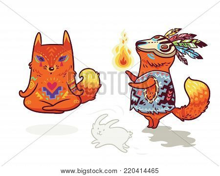 Set of two cute baby fox characters in cartoon style. Yoga meditation in lotus pose and shaman with fire. Vector illustration