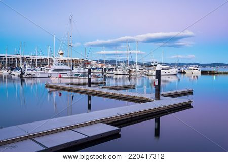 Sunset at the pier, Constitution Dock in Hobart, Tasmania, Australia.