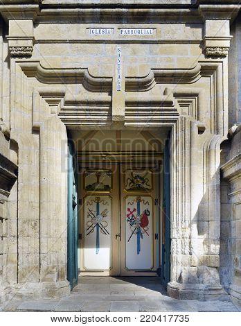 Pontedeume, Galicia / Spain. July 29, 2017. Main polychrome door of the parish church called