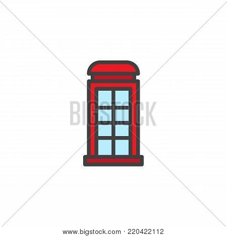 Telephone box filled outline icon, line vector sign, linear colorful pictogram isolated on white. Payphone booth symbol, logo illustration. Pixel perfect vector graphics