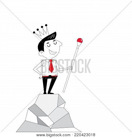 Achievement or leadership concept.Manager,Office Worker or businessman stand on the top of mountain and hold the scepter in his hand with the crown on his head. Concept of business success and accomplishment.Business vector concept illustration