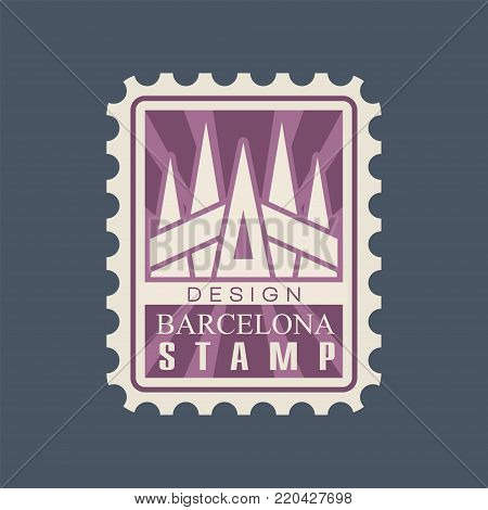Rectangular postage stamp of Barcelona city with cathedral of Sagrada Familia. Famous architectural landmark. Creative icon in purple color. Flat vector illustration isolated on blue background.