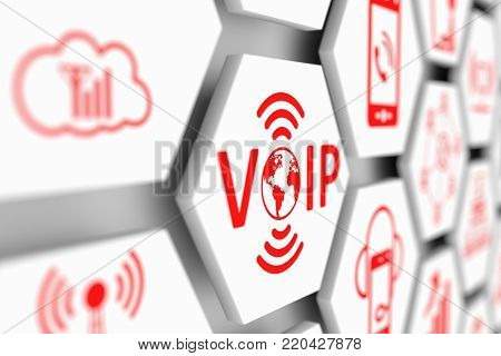 VOIP concept cell blurred background 3d illustration