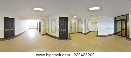 Spherical 360 Degrees Panorama Projection, Panorama In Interior Empty Long Corridor With Doors And E